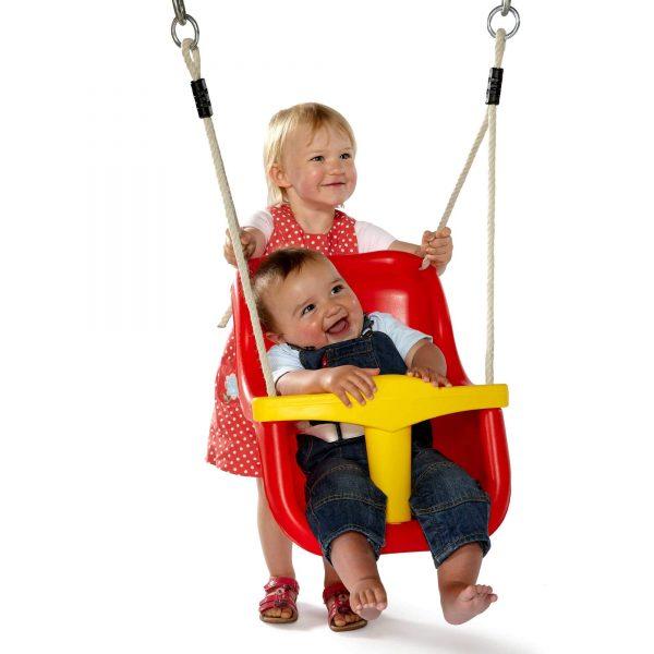 Babysitz für Schaukel in rot-gelb