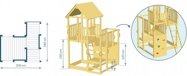 Skizze des Spielturms Penthouse von Blue Rabbit