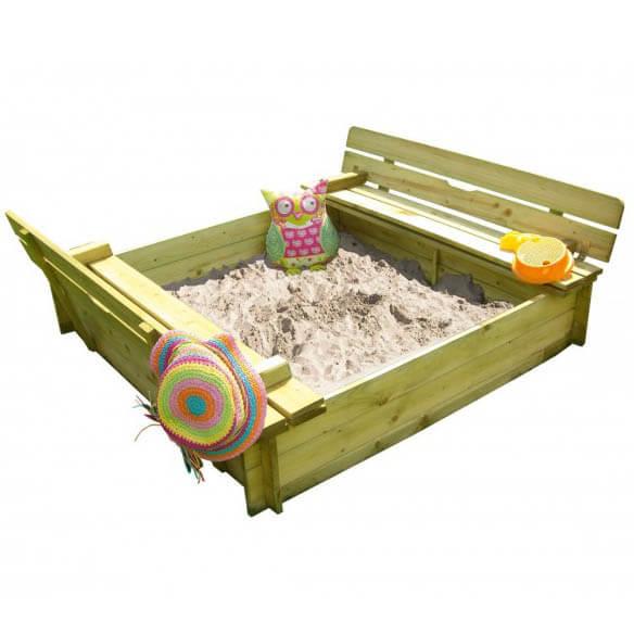 Sandkasten mit Deckel und Klappsitzen