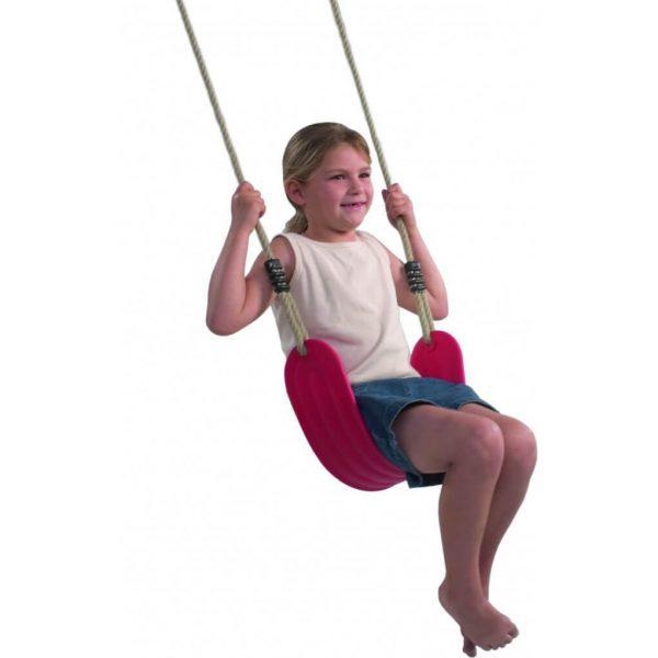 Rote Schaukelstuhl elastisch aus Kunsstoff