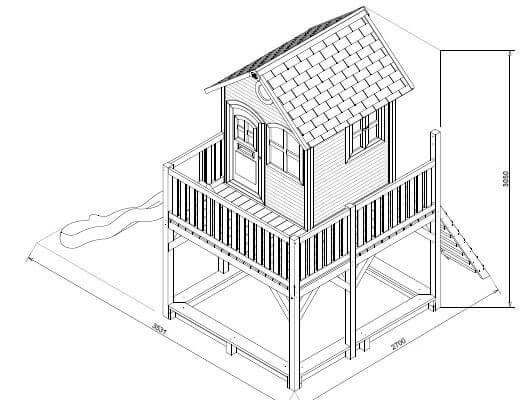 Spielhaus Liam Skizze und Aufbauanleitung