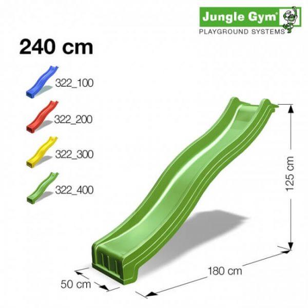 Bunte Rutsche für Jungle Gym Spieltürme in 240 cm - rot, blau, grün, gelb