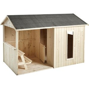 Kinderspielhaus Cyrielle aus unbearbeitetem Holz
