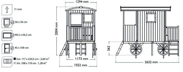 Kinderspielhaus auf Rädern Skizze