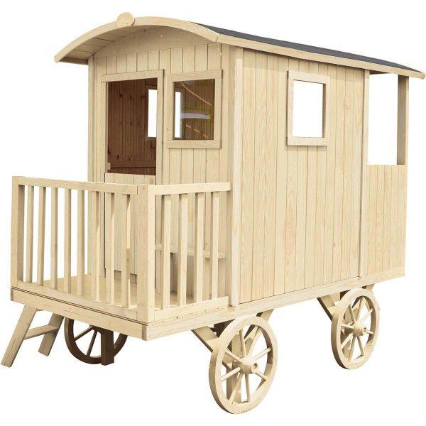 Kinderspielhaus auf vier Rädern aus Holz